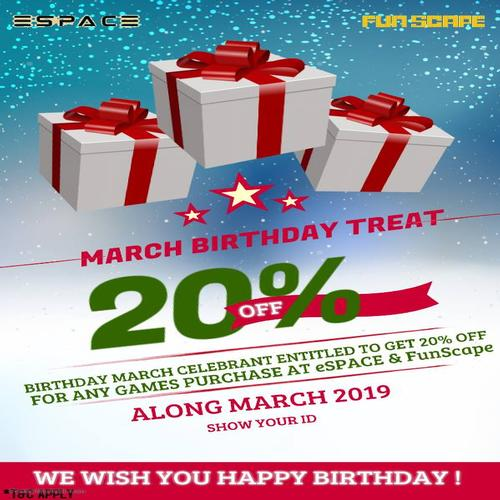ESPACE - March Birthday Treat 20% OFF